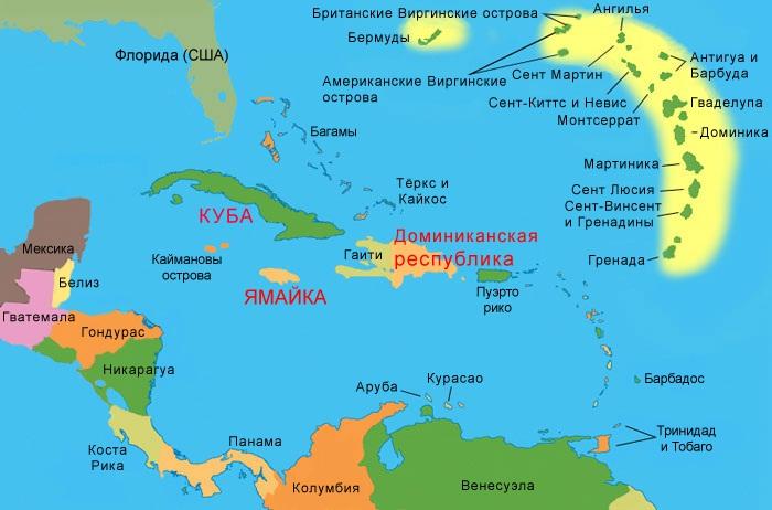 Карибское море на карте мира. Фото, где находится, какие страны омывает, описание, курорты и цены