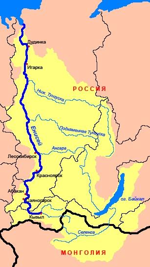 Река Енисей на карте России. Где находится исток, устье, длина, глубина, направление течения, протяженность, куда впадает