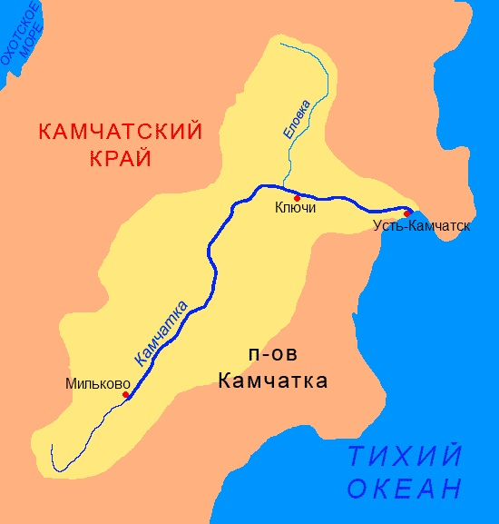 Камчатка на карте России с городами, где находится полуостров, границы
