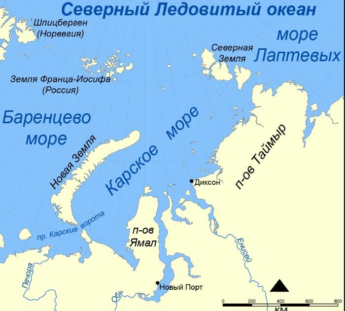 Карское море на карте России, острова и полуострова, границы, ресурсы, характеристика