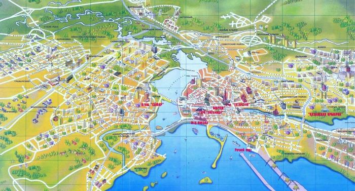 Карта Казани с достопримечательностями и маршрутами для туриста