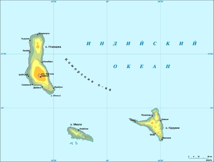 Мозамбикский пролив на карте мира, где находится, что соединяет, острова