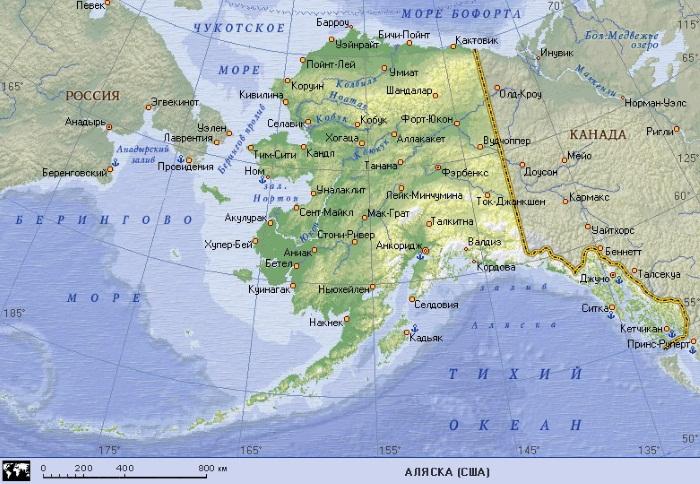 Аляска на карте мира, фото с названием и описанием