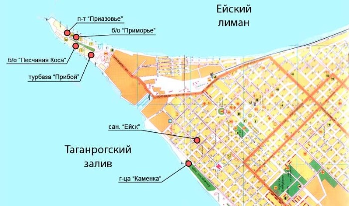 Должанская коса азовское море на карте