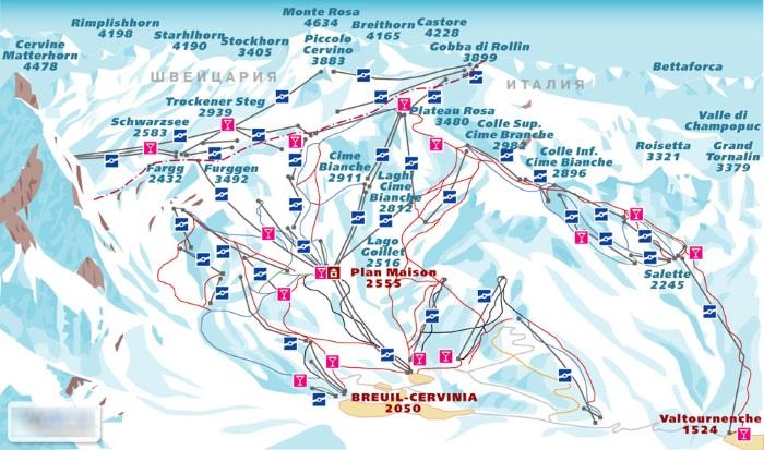 Горнолыжные курорты Италии на карте, с термальными источниками. Рейтинг лучших, цены