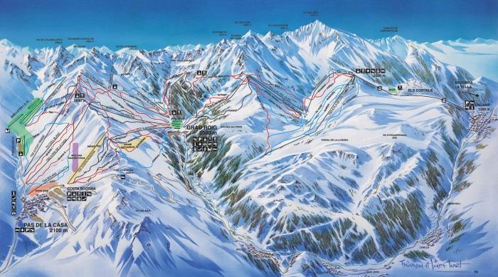 Андорра горнолыжный курорт Ла Велья, Пас де ла Каса, Сольдеу. Схема трасс, карта, цены туров