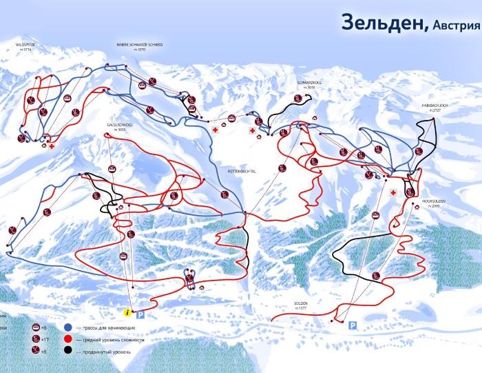 Горнолыжный курорт Зёльден в Австрии. Карта, как добраться, отели и цены
