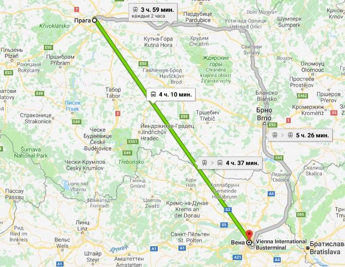 Как добраться из Праги в Вену. Самостоятельное путешествие на поезде, автобусе, автомобиле. Стоимость проезда