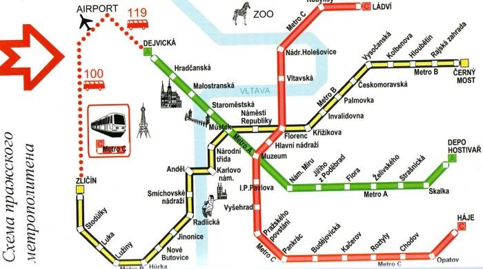 Метро Праги. Схема на русском языке, карта с достопримечательностями, отелями