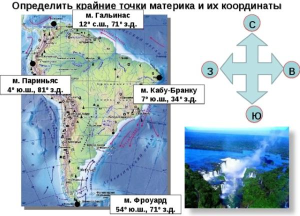 Крайние точки южной Америки: южная, северная, восточная, западная. Координаты, как называются, страны