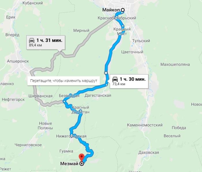 Мезмай. Достопримечательности на карте, фото и описание, схема, гостиницы, как добраться