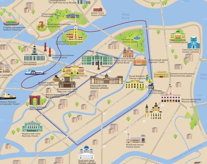 Достопримечательности Питера на карте. Фото и описание, самостоятельный маршрут