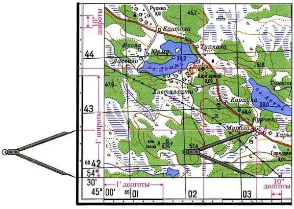 Как определять широту и долготу, географические координаты на карте. Примеры