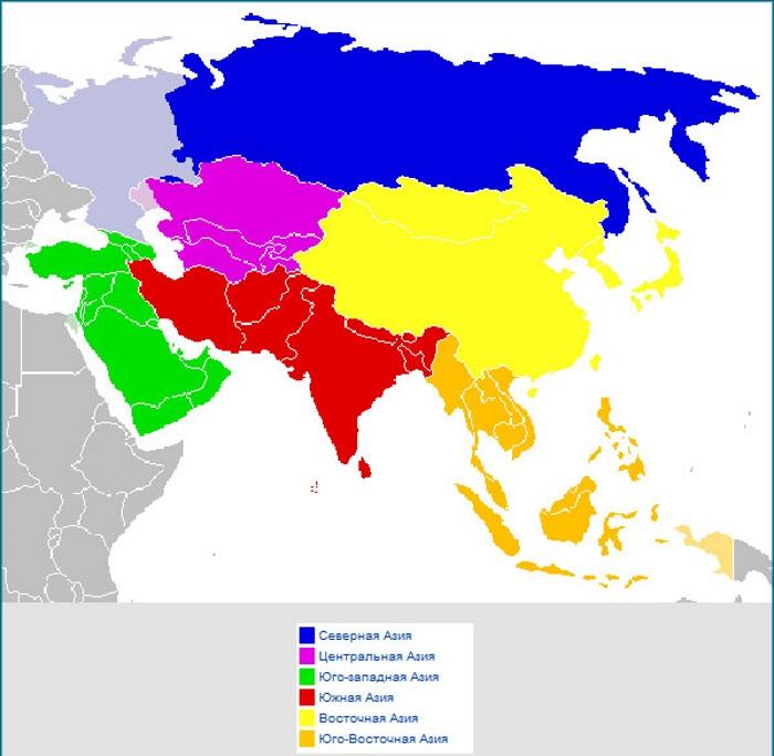 Карта Азии со странами крупно на русском со столицами. Границы стран, характеристики
