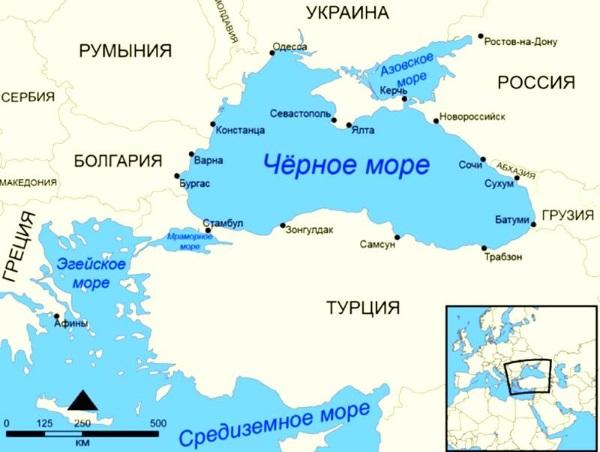 Карта Черного моря со странами вокруг, курортами России и мира. Где лучше отдыхать