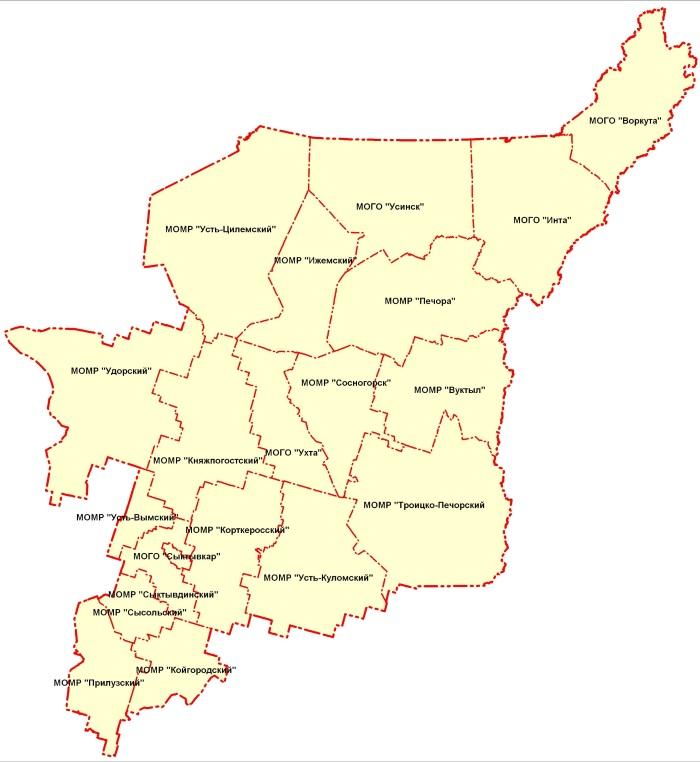 Республика Коми, Россия. Подробная административная карта, спутниковая, топографическая, дороги, города