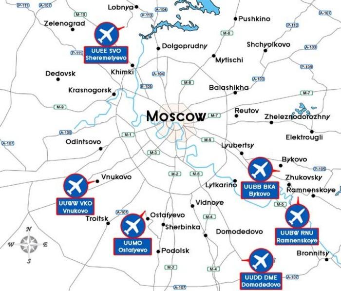 Аэропорты Москвы на карте города, Московской области. Список, расположение метро