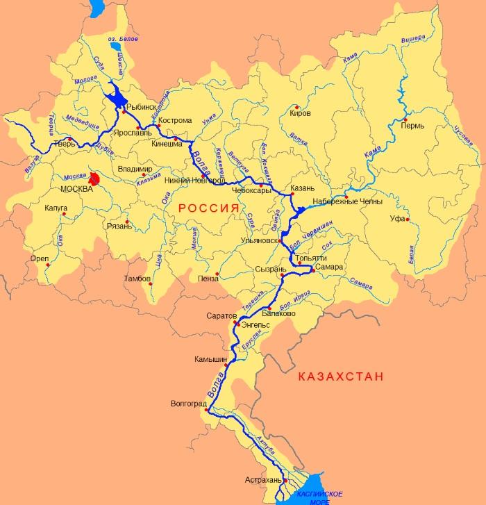 Карта Центральной России с областями, городами, состав, географическое положение, население