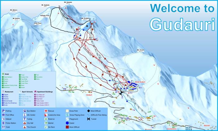 Горнолыжные курорты Грузии. Названия, фото, карта трасс, цены и отзывы
