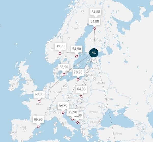Лоукостеры из Хельсинки в Европу. Дешевые авиабилеты из Финляндии
