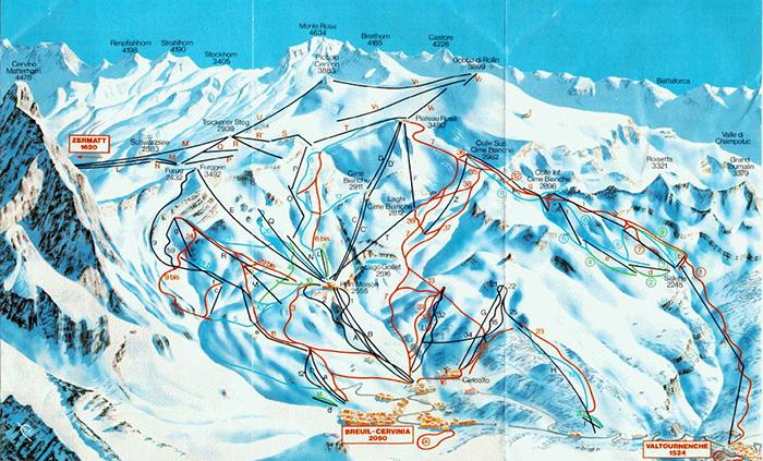 Червиния (Брей-Червиния) горнолыжный курорт. Схема трасс, карта, фото