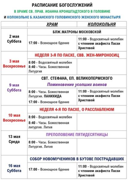 Храм Иоанна Кронштадтского в Головино. Расписание богослужений
